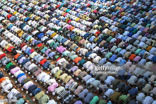TOPSHOT Indian Muslims offer prayers on Eid alAdha at the Kharudin Mosque in Amritsar on September 13 2016 Muslims across the world celebrate the...