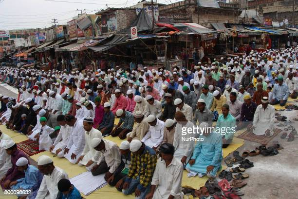 Indian muslims offer prayers on the last congregational friday of the holy month of Ramadan following the Muslim Festival Eid alFitr the biggest...