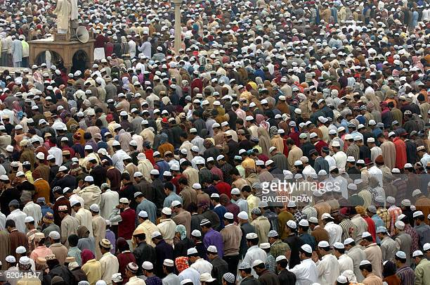 Indian Muslims pray at the Jama Masjid mosque India's biggest to celebrate EidAlAzha in New Delhi 21 January 2005 Muslims across the world are...