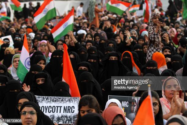 Indian Muslims protest against a new citizenship law that opponents say threatens India's secular identity in Mumbai India on January 24 2020 The new...