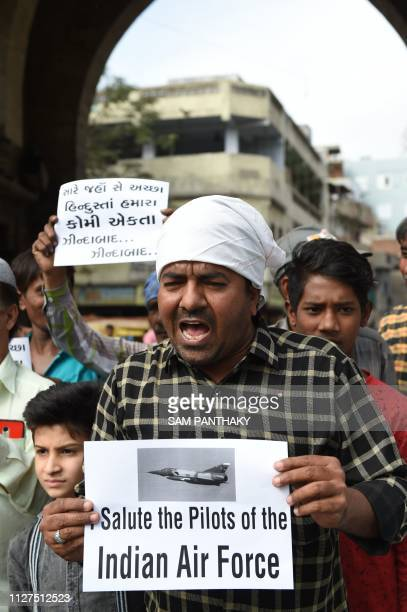 Indian Muslims shout antiPakistani slogans as they celebrate the Indian Air Force strike launched on a JaisheMohammad camp in Balakot in Ahmedabad on...