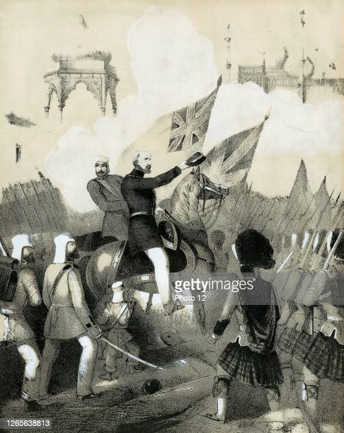 Robert Cornelis Napier British military commander making triumphant entry into Delhi Cover of sheet music of The Battle March of Delhi Tinted...