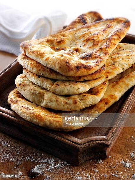 Indian naan bread with garlic and coriander