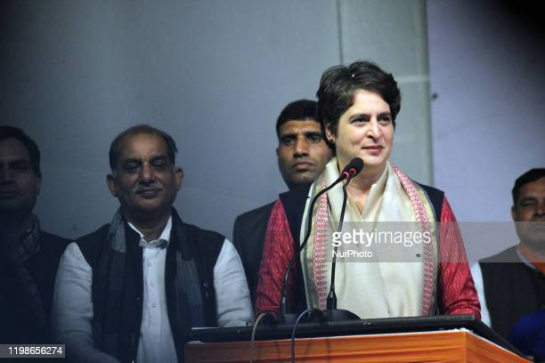 Indian National Congress leader Priyanka Gandhi Vadra campaigns during a rally ahead of Delhi Assembly Elections at Sangam Vihar on February 4, 2020...