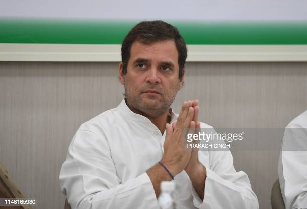 Indian National Congress Party president Rahul Gandhi gestures during a Congress Working Committee meeting in New Delhi on May 25, 2019.
