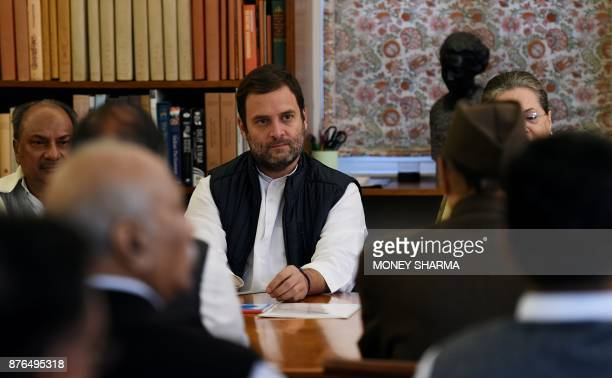 Indian National Congress party VicePresident Rahul Gandhi looks on during the Congress Working Committee meeting at the Congress party headquarters...