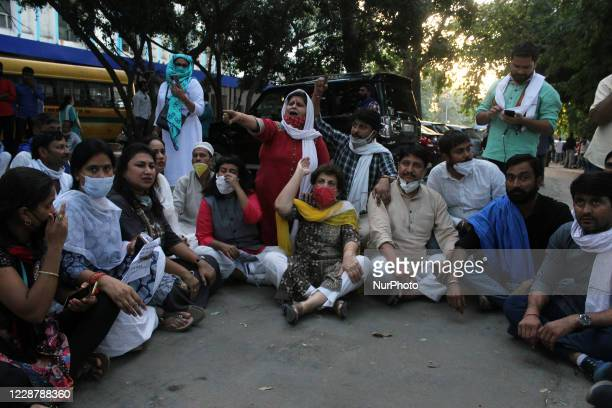 Indian National Congress's P L Punia, Member of the Rajya Sabha from Uttar Pradesh along with Congress supporters during a protest at Delhi's...