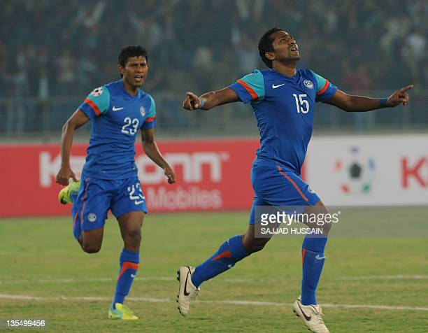 Indian national football team player Clifford Miranda celebrates after he scores a goal aganist Afghanistan during the Saff championship 2011 final...