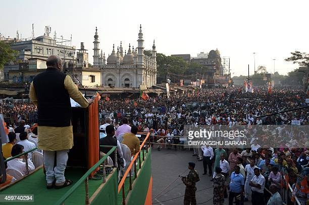 Indian national president of the ruling Bhartiya Janata Party Amit Shah delivers a speech during a party meeting in Kolkata on November 30 2014 BJP...