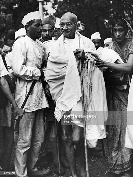 Indian nationalist leader and thinker Mahatma Gandhi Mohandas Karamchand Gandhi arrives at Simla to discuss the international situation with local...