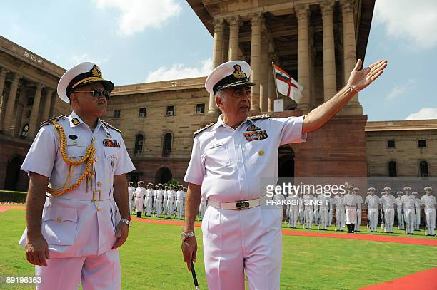 Indian Navy chief Admiral Sureesh Mehta talks with Chief of the Naval Staff Bangladesh Navy Rear Admiral Zahir uddin Ahmed after Guard of Honour in...