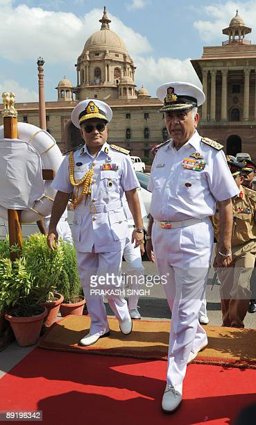 Indian Navy Chief Admiral Sureesh Mehta welcomes Chief of the Naval Staff Bangladesh Navy Rear Admiral Zahir uddin Ahmed prior to a meeting in New...