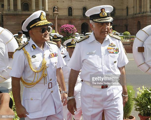 Indian Navy Chief Admiral Sureesh Mehta with Bangladesh Navy Chief Rear Admiral Zahir Uddin Ahmed who is in India on a weeklong visit was presented a...