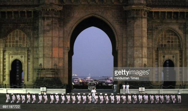 Indian Navy men rehearsing at The Gateway Of India on Wednesday for the Navy Day