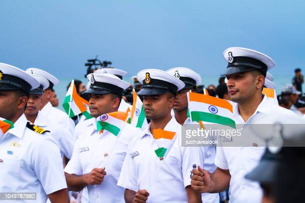 indian navy officers at fleet parade in pattaya - association of southeast asian nations stock pictures, royalty-free photos & images