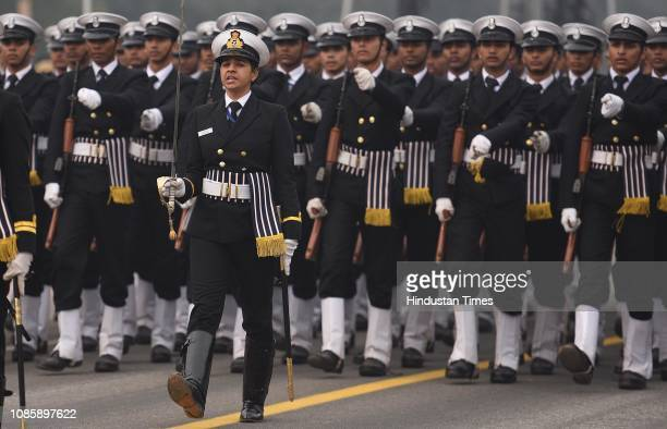 Indian Navy personnel march during rehearsals for the upcoming Republic Day parade 2019 at Vijay Chowk on January 21 2019 in New Delhi India