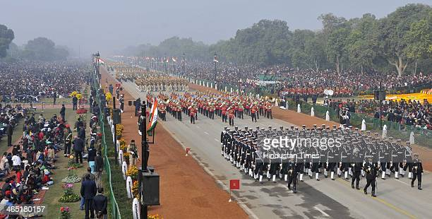 Indian Navy soldiers marching during the 65th Republic Day parade at Rajpath on January 26 2014 in New Delhi India India adopted its democratic...