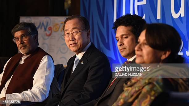Indian Nobel laureate Kailash Satyarthi UN Secretary General Ban Kimoon former Indian cricketer Sachin Tendulkar and Indian Bollywood actress...