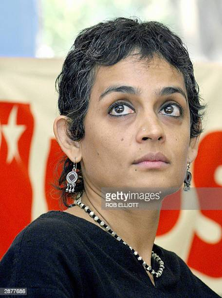 Indian novelist Arundhati Roy attends a forum at Mumbai Resistance 2004 a meeting of farleftists who believe that the World Social Forum held on a...