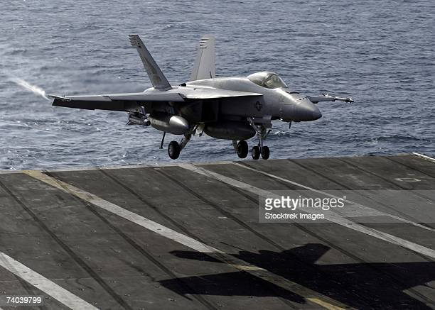 Indian Ocean (January 12, 2007) - An F/A-18E Super Hornet assigned to the Pukin' Dogs of Strike Fighter Squadron One Four Three (VFA-143) returns to the flight deck of the Nimitz-class aircraft carrier USS Dwight D. Eisenhower (CVN 69).