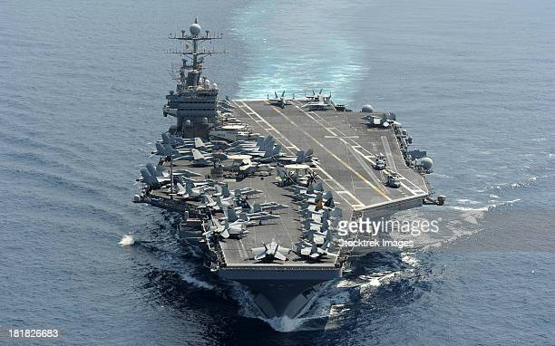 Indian Ocean, January 18, 2012 - The Nimitz-class aircraft carrier USS Abraham Lincoln transits the Indian Ocean.