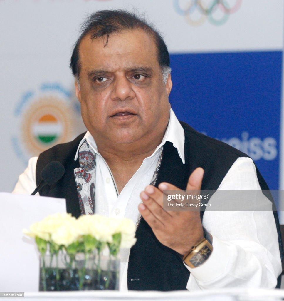 Indian Olympic Association President Narinder Batra during the press