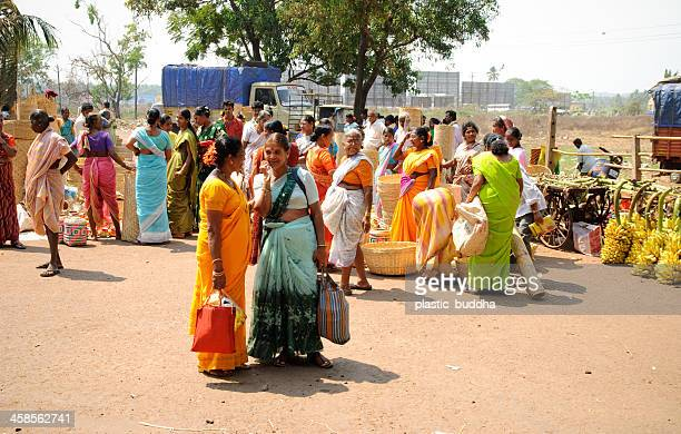 indian open market - panjim stock photos and pictures