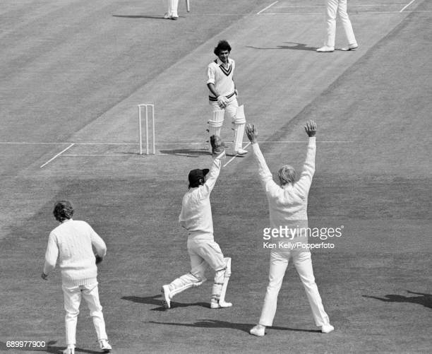Indian opening batsman Sunil Gavaskar is dismissed for a firstball duck caught by England wicketkeeper Alan Knott off the bowling of Geoff Arnold...