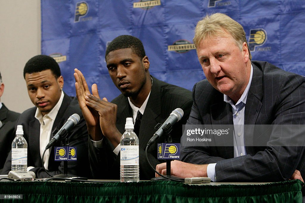 Indian Pacers president of basketball operations Larry Bird (R), speaks to the media as Pacers' first round draft picks Roy Hibbert (C) and Brandon Rush look on at Conseco Fieldhouse on July 15, 2008 in Indianapolis, Indiana.