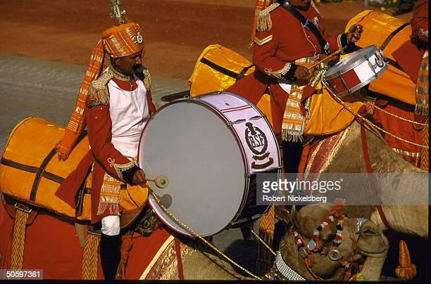 Indian para-mil forces Camel Band drum player in ceremonial dress uniform during Republic Day parade.