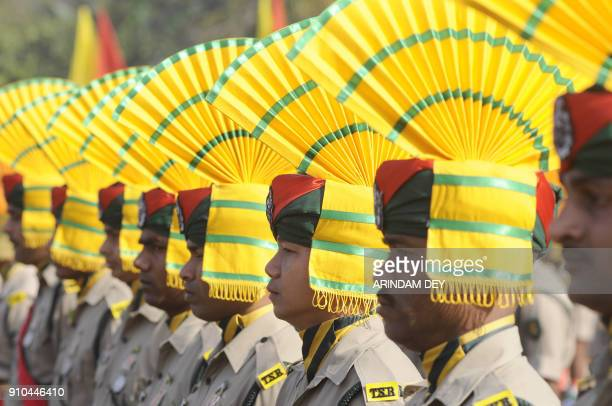 Indian paramilitary force personnel march during events to mark Republic Day in Agartala on January 26 2018 India is celebrating its 69th Republic...