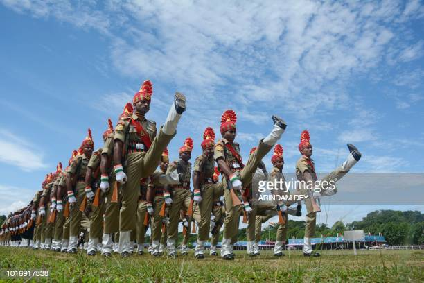 TOPSHOT Indian paramilitary force personnel march pasts during the 72nd Independence Day celebrations in Agartala the capital of northeastern state...