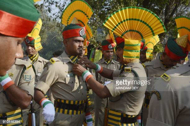 Indian paramilitary force personnel prepare to take part in events to mark Republic Day in Agartala on January 26 2018 India is celebrating its 69th...