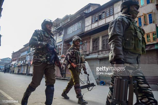 Indian paramilitary forces are seen patrolling the streets of Srinagar after clashes Traders in Lal Chowk and adjoining markets closed their shops on...