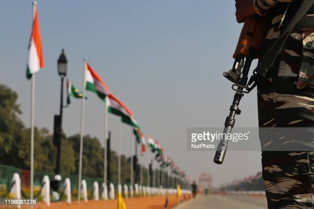Indian paramilitary forces stand gaurd near Rajpath in New Delhi India on 25 January 2020 ahead of India's Republic Day Facial recognition system and...