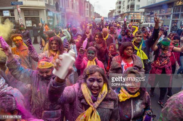 Indian people are seen throwing coloured powders during the celebration Millions of people around the world celebrate the annual Holi Hangámá...