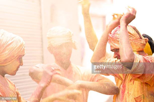 Indian people celebrating holi