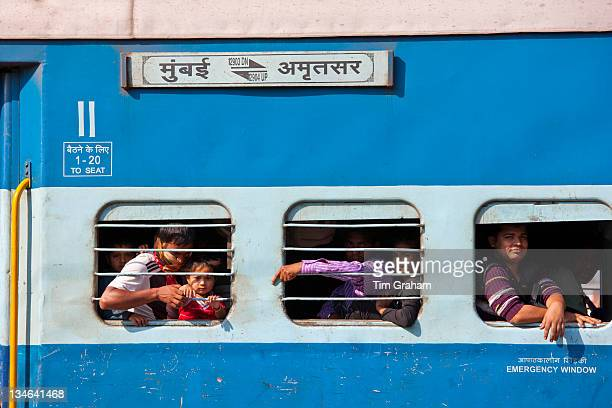 Indian people on crowded train at Bharatpur Northern India