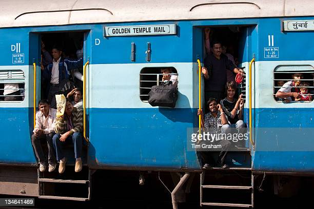 Indian people on crowded train at Bharatpur Station Northern India
