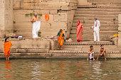 traditional indian hindu people ghat steps