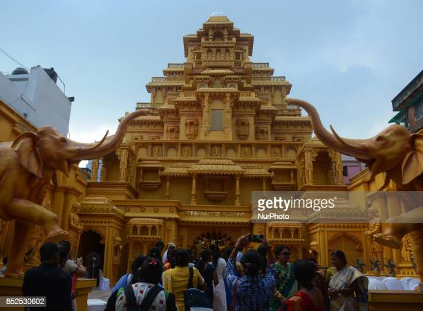 Durga stock photos and pictures getty images indian people visits the durga puja pandal or a temporary platforms of sreebhumi sporting club in altavistaventures Choice Image