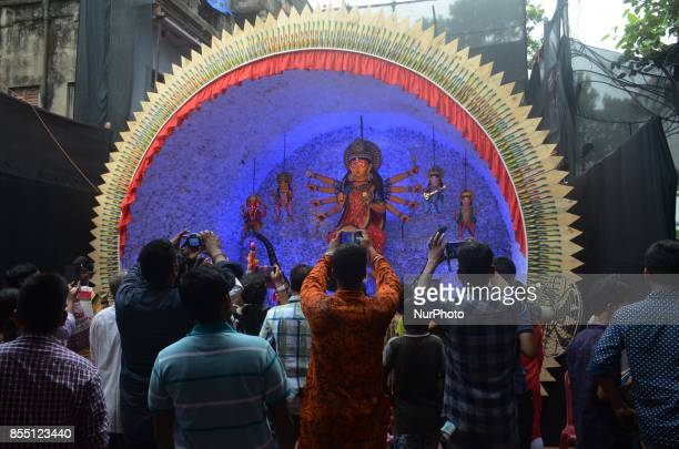 Indian people visits the Durga puja pandal or a temporary platforms during the Durga Puja festival in Kolkata India on Thursday 28th September 2017...