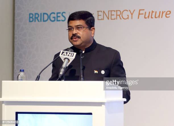 Indian Petroleum Minister Shri Dharmendra Pradhan delivers a speech during the 22nd World Petroleum Congress in Istanbul Turkey on July 11 2017