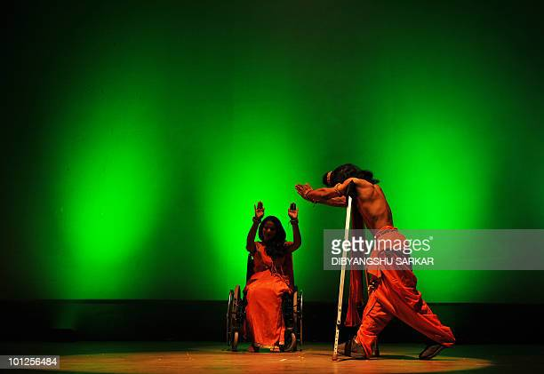Indian physically challenged artists perform the Indian epic Ramayana in wheelchairs and on crutches during a function in Bangalore on May 28 2010...