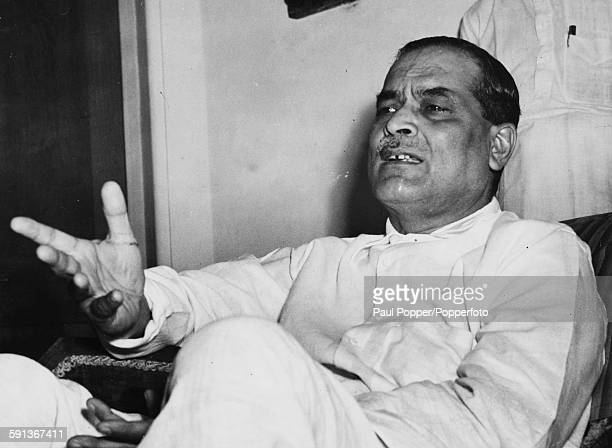 Indian physician Bidhan Chandra Roy Chief Minister of West Bengal in India pictured speaking at a press conference circa 1950