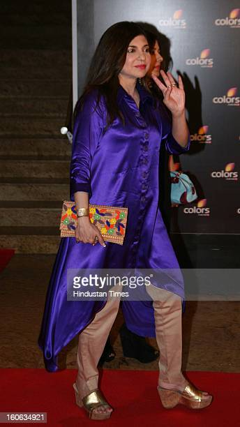 Indian playback singer Alka Yagnik during 4th anniversary party of Colors at Grand Hyaat on February 2 2013 in Mumbai India