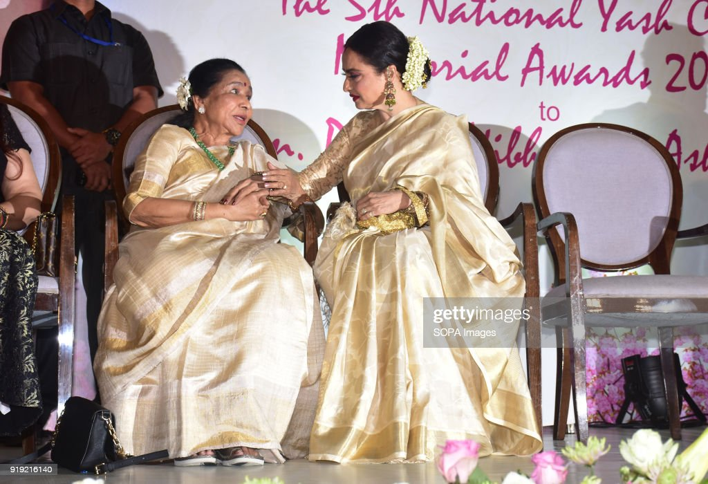 Indian playback singer Asha Bhosle and Rekha present at the 5th Yash Chopra Memorial Award at hotel JW Marriott Juhu in Mumbai