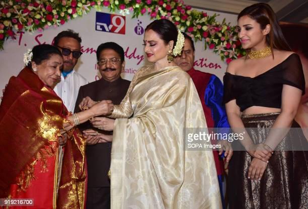 Indian playback singer Asha Bhosle Hon Governor of Maharashtra Shri Vidyasagar Rao Rekha and Parineeti Chopra present at the 5th Yash Chopra Memorial...