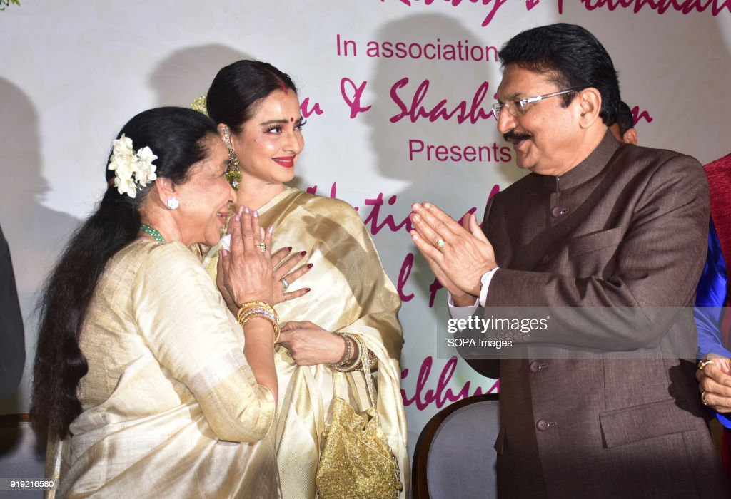 Indian playback singer Asha Bhosle Rekha and Hon Governor of Maharashtra Shri Vidyasagar Rao present at the 5th Yash Chopra Memorial Award at hotel...