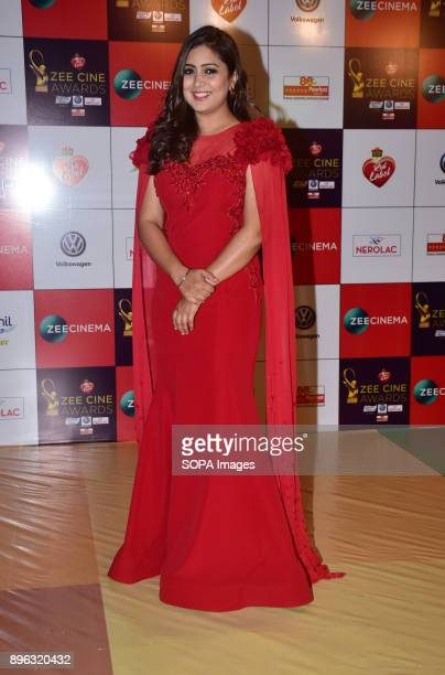 Indian playback singer Harshdeep Kaur attend the Red carpet event of Zee Cine Awards 2018 at MMRDA Ground Bandra in Mumbai